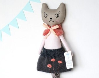 Made to order - funky collectible cat doll - eco cloth cat doll - linen stuffed doll with cashmere skirt
