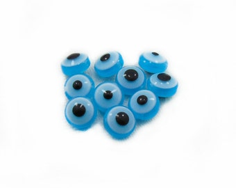 Flat Evil Eye Beads, Acrylic Evil Eye Beads, Light Blue Evil Eye Beads, 10mm Flat Evil Eye Beads, Jewelry Making, DIY Craft Supplies