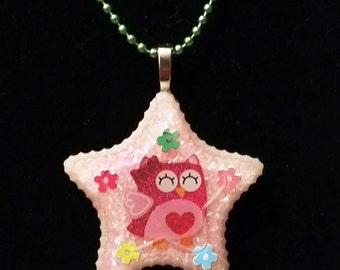 "SALE!!! Kawaii ""Love Bird"" Owl Resin Pendant Necklace: Grade B Item"
