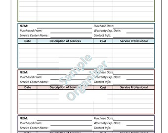 Household Organizer - Printable Warranty & Services Log, Instant Download