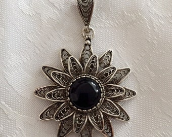 925 Solid Sterling Silver Agate stone, Filigree Pendant