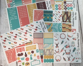 Boho Chic---- Weekly Planner Kit ---- {Includes 210+ Stickers}