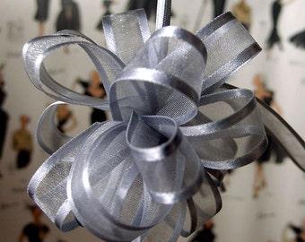 """PULL BOWS - Ribbon - Bows - Silver Bow - 5/8"""" - 18 Loops"""