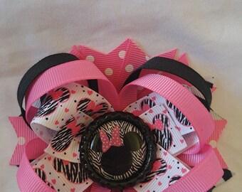 Minnie Mouse Zebra Print Hairbow
