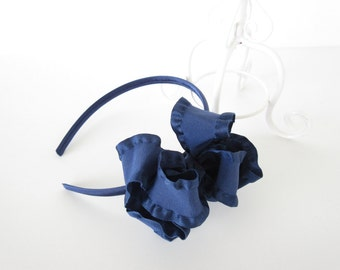 Navy blue double ruffle boutique bow headband, toddler girls tween headband,back to school uniform headband