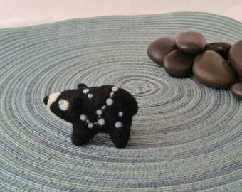 Constellation blue star bear miniature needle felted wool figurine