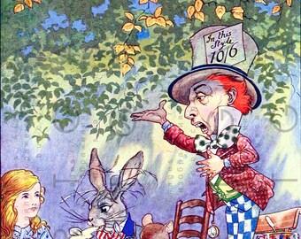 The MAD HATTER Tea Party. Digital Alice in Wonderland Illustration. Vintage Wonderland Art. Digital Alice Download.