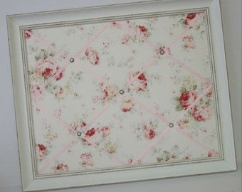 Pink & Red Roses on Cream Shabby Chic fabric Distressed Framed Memo Board