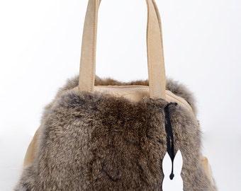 100% Real Rabbit Fur Bag Repurpose Genuine Leather Handmade