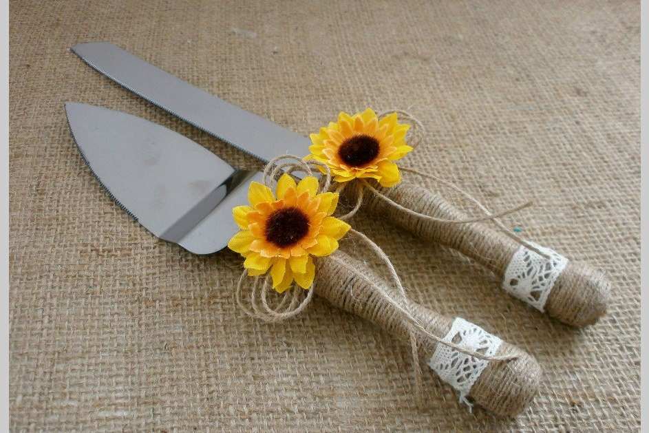 Cake Knife Set Wedding Cake Serving Knife Sunflower Rustic