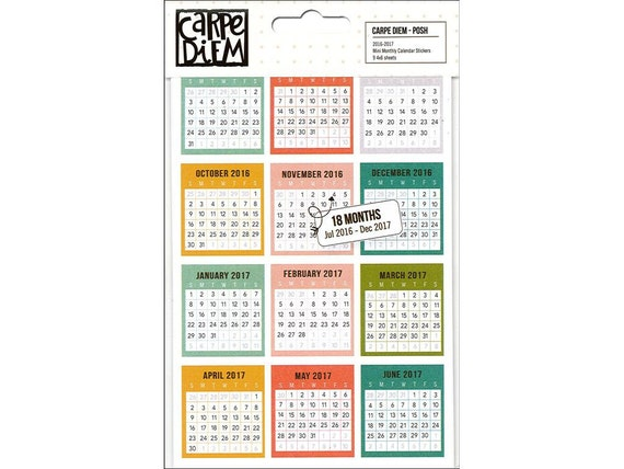 Calendar Monthly Stickers : Posh mini monthly calendar stickers  month carpe