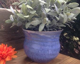 Blue Ceramic Indoor Plant Pot, Indoor Plant Pot, Handmade Stoneware