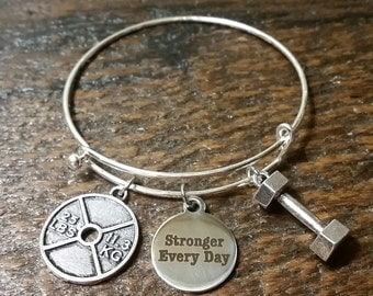 Stronger Everyday Weight Plate and Dumbbell  Bangle Bracelet
