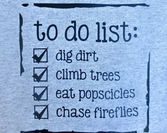To Do List Unisex Toddler Shirt from Chubby Bunny Happy Home Summer Adventure Collection.  2T, 3T, or 4 T