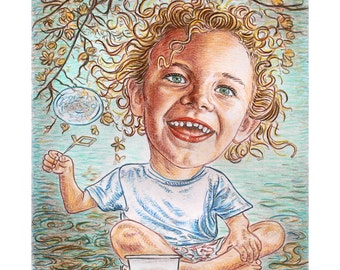 Custom caricature , portrait from photo , water play , personalized sketch , personalised handmade drawing