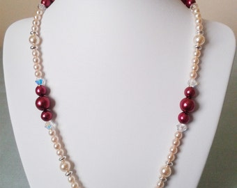 Burgundy & Cream Glass Pearl, Swarovski Crystal and Sterling Silver Beaded Necklace