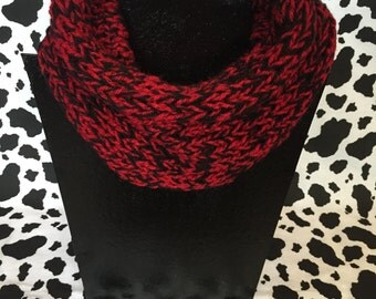 Basic hand knit neck warmer. Red/black marled.