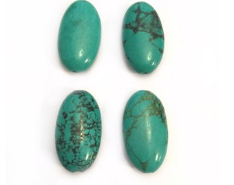 Oval Turquoise Beads, Genuine Turquoise Beads, 25mm Turquoise Beads,