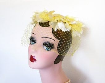 Vintage Yellow Floral Hat/Head Piece with Veil ~ Circa 1960's