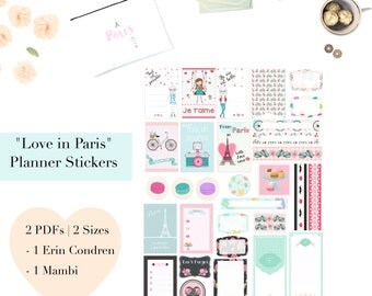 Love in Paris Printable Planner Stickers | Journal cards scrapbook labels | paper craft supplies | MACARONS | French | Erin Condren | Mambi