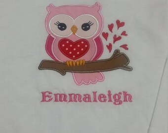 Personalized Children's Applique Owl Tee