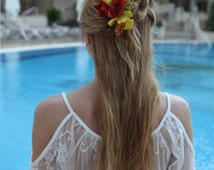 Rustic Bohemian Hair Flower,Bridal Flower Comb,Orchid Flower Comb,Clips,Orchid Hair Piece,Hair Accessories,Summer,Prom,Festival,Free Ship...