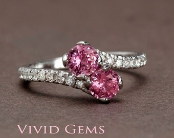 Sapphire Engagement Ring, You and Me 2 Stone Pink Sapphire Ring