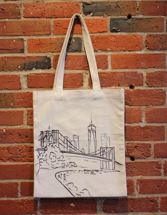 New York Canvas Tote Bag Brooklyn Bridge Canvas Tote Bag