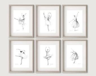 Set of 6 Prints, Ballerina Prints, 6 Ballerina Prints, Ballerina Pictures, Ballerina Sketches, Girl Room Decor, Gift for Her, Set of 6 Dance