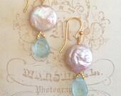 Pearl Earrings | Aquamarine Earrings | Gold Vermeil | Drop Earrings | Wedding Earrings | Bridesmaid Earrings | Gold Filled | Pink Pearl