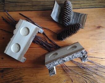 Rustic Wood T-Lite. Meditation decor.Tea light holder.Altar decor.T-light Candle centerpiece.Gift idea.Natural Wood Decor.Log Candle Holder.
