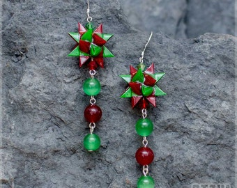 "Earrings ""Hill to poppies"" - green - red star and green and red beads."