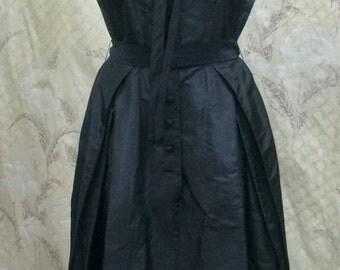 Beautiful 1950's Black Silk Satin Party Dress, Little Black Dress, 1950s Black Party Dress, New Look