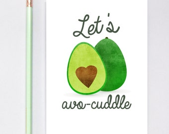 Let's Avocuddle Greeting Card, Long Distance Boyfriend Gift, Boyfriend Gift, Long Distance Relationship, LDR Cards, Greeting Cards, Avocado