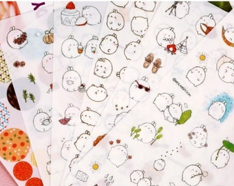 Rabbit Stickers, Molang Ver. 1, Cute Bunny, Planner Diary Journal Stationary, Set of 6 Sheets