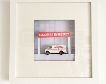 Handmade Old toy Ambulance picture, Wall Art, Childs room