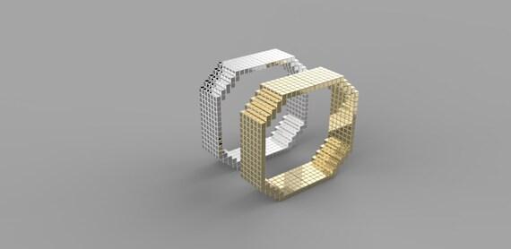 SILVER Video Game Wedding Band 8 Bit Ring By ShineSwapCustomRings