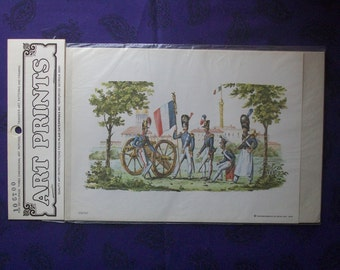 Group of French soldiers decoupage print