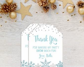Snowflake Favor Tags, Winter Onederland, Winter Wonderland, Favor Tags, Blue Silver, Winter Birthday, Printable, Snow Much Fun, Frozen