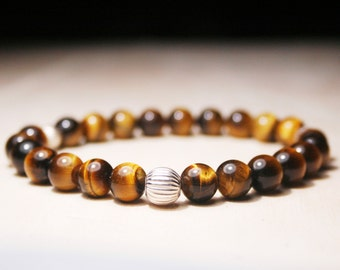 Men Bead Bracelet, Tiger eye Men Bracelet, Men Healing Bracelet, Men Good Luck Jewelry, Men Gift, For Him, Men Zen Bangle, Birthday gift