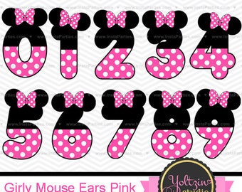 Minnie Mouse clipart numbers Ears pink Black age digital clip art mimi png images cliparts polka dots