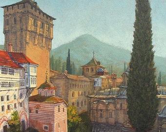 Mount Athos Hilandar Serbian Monastery (Print)