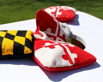 Maryland Flag Cornhole Bags | Hand Screen Printed Set of 8 Corn Hole Bags | Regulation Size Real Corn | Yellow Black Red White