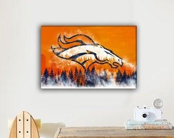 Denver Broncos - Broncos - Canvas Print - Football Print - Football gift - Free Shipping