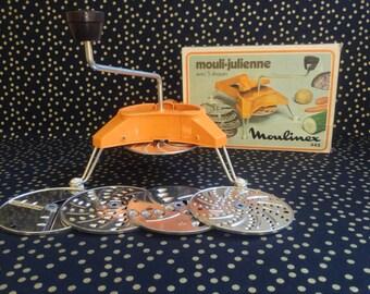 Mouli Julienne~Vintage Food Prep~Julienne Hand~Food Slicer~European~Orange~Groovy~Kitsch~Kitchen