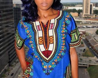Her Blue African Dashiki