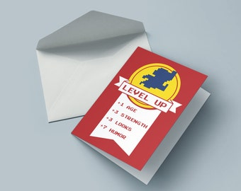 Level up - the birthday card for nerds, geek & gamer
