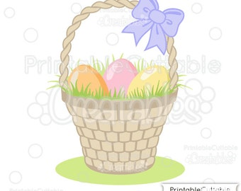 Woven Easter Basket SVG Cut File & Clipart - Includes Limited Commercial Use!