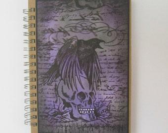 Skull notebook, raven notebook, Wicca notebook, Spiral bound notebook, Lined notebook.