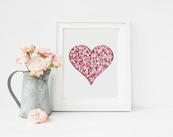 Paper Quilling Heart, Pink Heart Wall Art, Quilling Canvas Art, Nursery Wall Decor, Heart Nursery Art, Paper Quilled Art, Pink Heart Wall